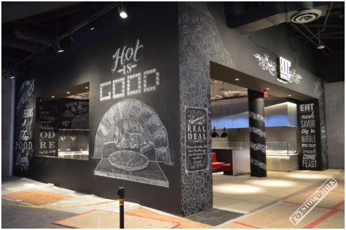 Smudge & Moisture resistant chalk look mural installed at 800 Degrees pizza inside SLS Casino in Las Vegas.