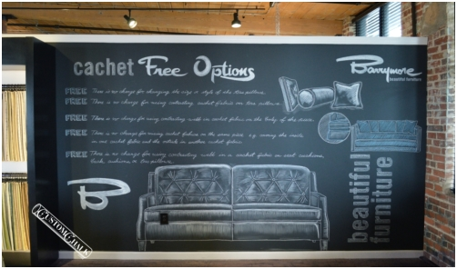 Tradeshow chalk mural for Barrymore furniture installed at High Point furniture market.
