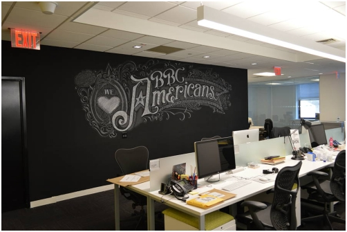 Chalk look wall art mural installed at BBC America's corporate headquarters in New York City.