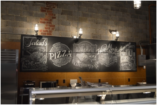 Chalk look mural installed on site in Connecticut for Mrs. Green's Natural Foods Market.