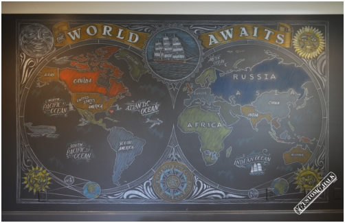 World map chalkboard mural installed in home in Birminham, Alabama.