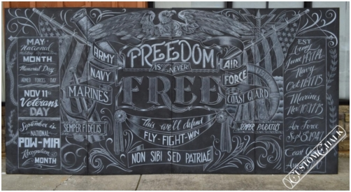 Chalk art mural for military appreciation event, Knoxville, Tennessee.