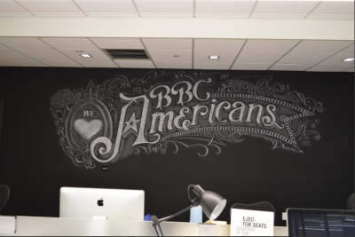 Chalkboard wall mural artist for hire CJ Hughes.