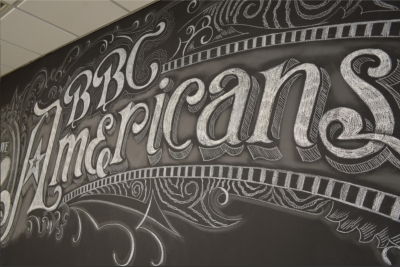 Permanent chalk lettering mural artist for hire.