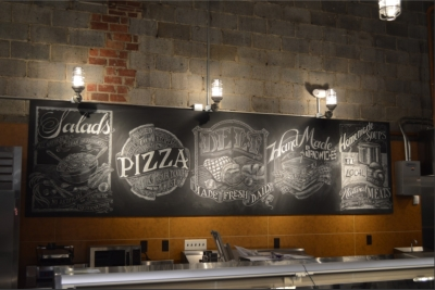 Chalk mural art lettering for restaurants and grocery stores.