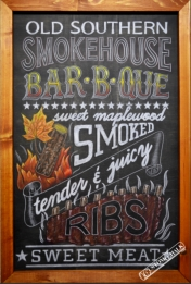 Restaurant chalk mural lettering - permanent art with the look of chalk