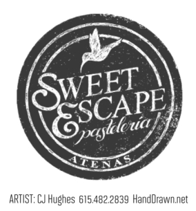 hand drawn and lettered pastry shop logo design