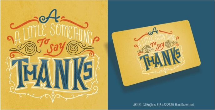 hand lettered gift card design by CJ Hughes