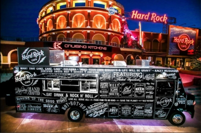 Chalk art lettering for Hard Rock Cafe's first USA food truck.